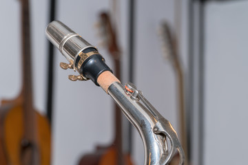 A fragment of the valve of the saxophone