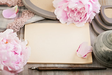 Empty Blank Paper on Retro Background with Peony Flowers and Vin