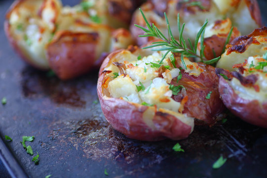 Red potatoes smashed and baked with rosemary