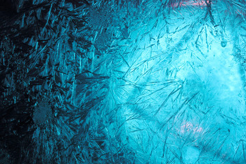 ice texture, macro, blue cold the background