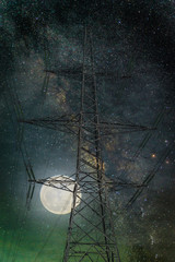 Wall Mural - Silhouette electricity post with the moon and milky way in night