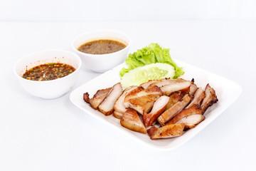 Sliced grilled pork