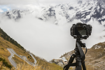 Mountain landscape with camera