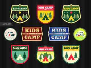 Set of kids adventure summer camp emblem or badge in camping the