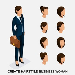 Trendy isometric set 6, women's hairstyles. Young business woman, hairstyle, hair color, isolated. Create an image of the modern business woman. Vector illustration