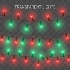 Christmas lights. Glowing garland on transparent background