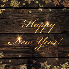 happy_new_year_golden_greeting_on_wooden_board_isolated_up_and_d