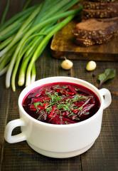 Appetizing red borscht soup