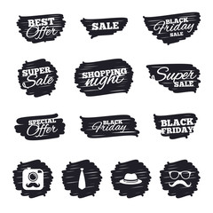 Ink brush sale stripes and banners. Hipster photo camera with mustache icon. Glasses and tie symbols. Classic hat headdress sign. Black friday. Ink stroke. Vector
