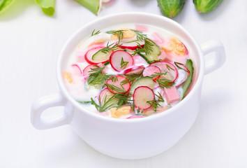 Okroshka. Yoghurt soup