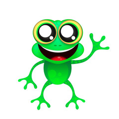 Fun frog on white background