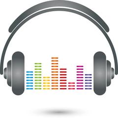 Kopfhörer, Equalizer, HiFi, Tonfrequenzen, Logo