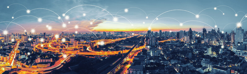 Cityscape with graphic of network concept, Bangkok, Thailand