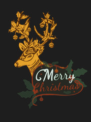 Merry Christmas from vector.Reindeer by hand drawing.Merry Christmas in 2016.Reindeer tangle 