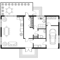 Architectural plan of a house with garage