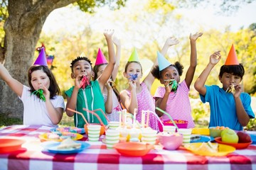 Cute children having fun during a birthday party