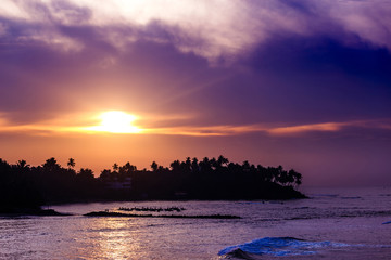 Fantastic sunset on the beach