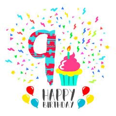 Happy Birthday card for 9 year kid fun party art