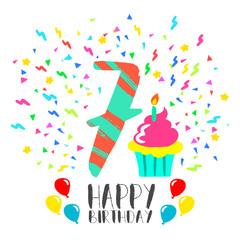 Happy Birthday card for 7 year kid fun party art