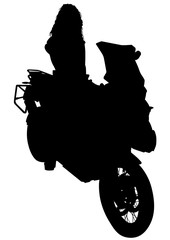 Fototapete - Motorcycl and baeuty women on white background