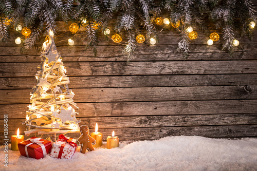 Christmas decoration on wooden background\