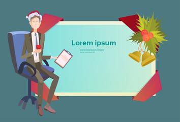 Business Man In Chair Hold Contract Celebrate Merry Christmas And Happy New Year Santa Hat Flat Vector Illustration