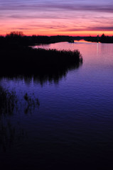 Beautiful colorful dusk on a river with silhouettes of reeds and barge.