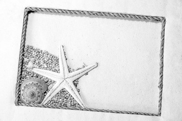Handmade tropical frame of rope, rugged fabric, a starfish, shel