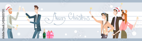 f386d127e4e36 Businesspeople Celebrate Merry Christmas And Happy New Year Business People  Team Santa Hat Flat Vector Illustration