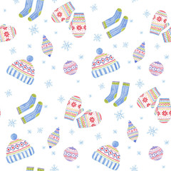Watercolor pattern with winter holiday elements: mittens, knitted socks, pom hat, christmas tree decorations.