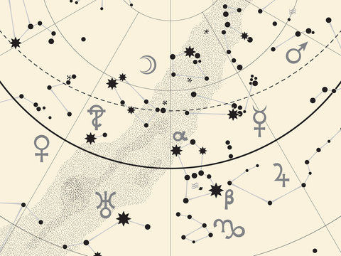 Fragment of Astronomical Celestial Atlas: Stars, Heavens, Planets. (Ancient Silver background EPS-8)