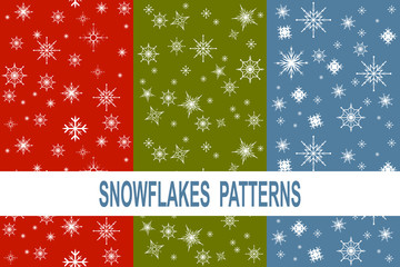 Set of 3 different snowflakes pattern