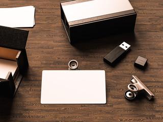 Business cards on wood background. 3D illustration