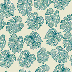 Monstera outline leaves seamless pattern on a beige background