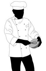 chef preparing food silhouette - vector