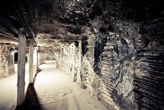 Interior of the underground corridor in Wieliczka salt mine