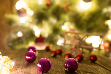 Christmas holiday background with wooden table