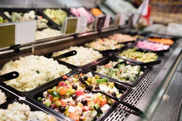 Close up view of an appetizing buffet of prepared meal