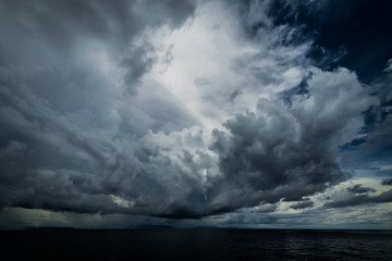 Dark clouds in open ocean