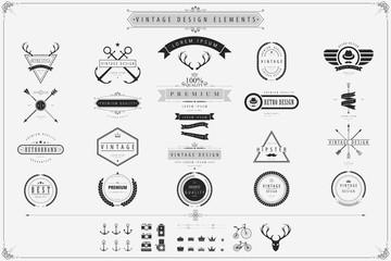 Vintage vector design elements Retro style labels,Vintage lebels