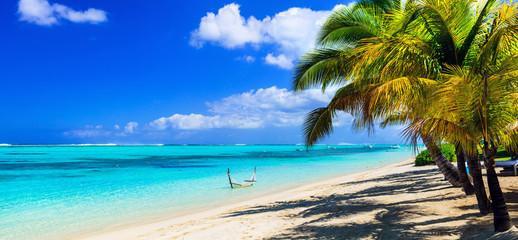 perfect tropical holidays - white sandy beaches of Mauritius island