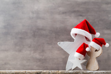 Christmas stars santa hat. Christmas pattern. Background on the