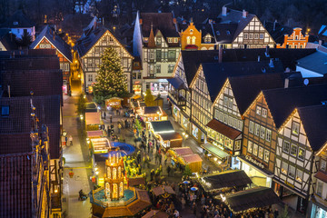 Traditional christmas market in the historic center of Rinteln
