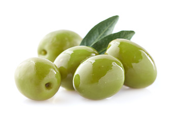Green olives with leaf Wall mural