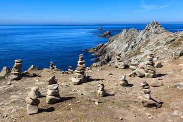Stones stacked. Punta de Raz.