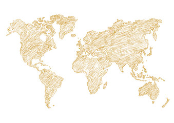 vector illustration world map pencil sketched