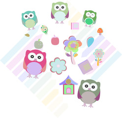 set of colorful owls with different expressions,