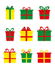 Collection of colorful presents. Vector.