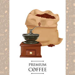 Bag of coffee beans isolated on white background. classic  grinder in wooden case vector illustration.  mill