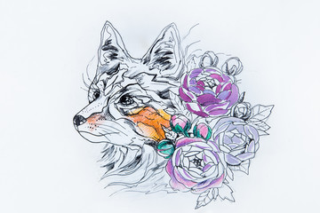 Design fox with purple flowers against white background.
